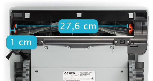 Neato robottolmuimeja Neato BotVac altvaates. Laiem hari ulatub vaid 1 cm kaugusele seinast. Külghari hoolitseb selle katmata 1 cm eest.